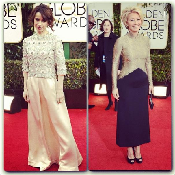 Green Carpet Challenge_Golden Globes 2014 Emma Thompson & Sally Hawkins