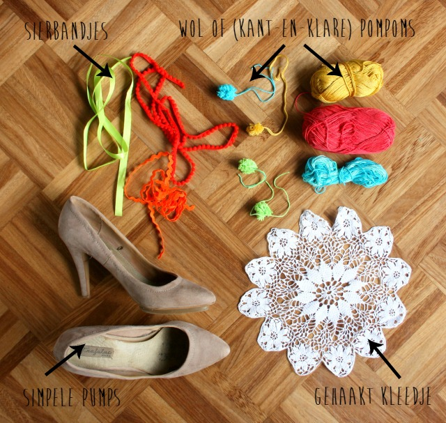 pom pom shoes diy | l.k.bennett parrot court heels | green and the cities