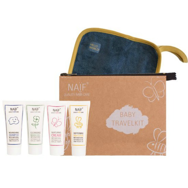 baby verzorgingsproducten | naïf care travel kit | green and the cities